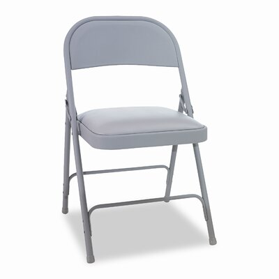 Alera® Steel Folding Chair with Padded Seat, Tan