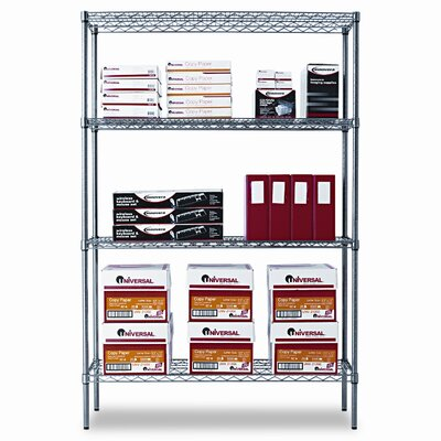Alera® Industrial Wire Shelving Starter Kit, Four Shelves, 48w x 18d x 72h, Black