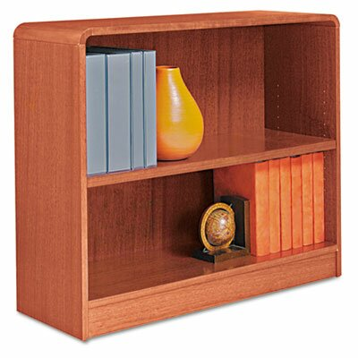 Alera® Radius Corner Bookcase, Finished Back, Wood Veneer, 2-Shelf, 36x12x30, Med. Oak