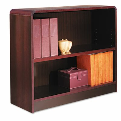 Alera® Radius Corner Bookcase, Finished Back, Wood Veneer, 2-Shelf, 36x12x30, Mahogany