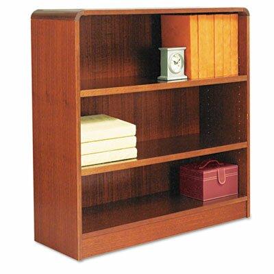 Alera® Radius Corner Bookcase, Finished Back, Wood Veneer, 3-Shelf, 36x12x36, Cherry