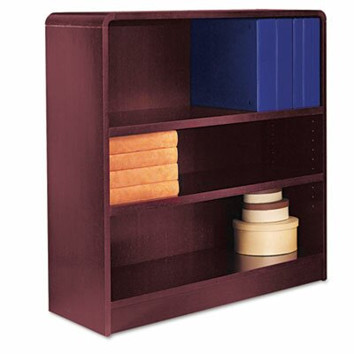 Alera® Radius Corner Bookcase, Finished Back, Wood Veneer, 3-Shelf, 36x12x36, Mahogany