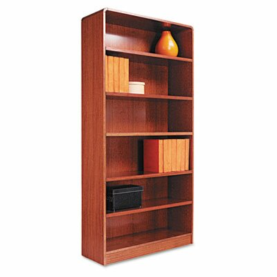 Alera® Radius Corner Bookcase, Finished Back, Wood Veneer, 6-Shelf, 36x12x72, Med. Oak