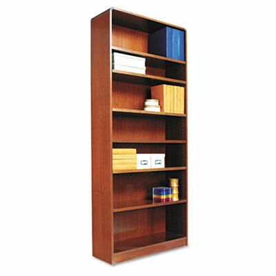 Alera® Radius Corner Bookcase, Finished Back, Wood Veneer, 7-Shelf, 36x12x84, Cherry