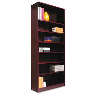 Alera® Radius Corner Bookcase, Finished Back, Wood Veneer, 7-Shelf, 36x12x84, Mahogany