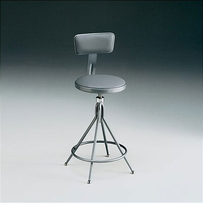KI Furniture Height Adjustable Swivel Stool with Backrest