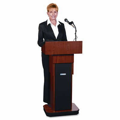 AmpliVox Sound Systems Executive Adjustable Sound Lectern, Column, 24w x 17-1/2d x 36 to 44h, Mahogany