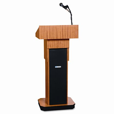 AmpliVox Sound Systems Executive Adjustable Sound Lectern, Column, 24w x 17-1/2d x 36-44h, Medium Oak