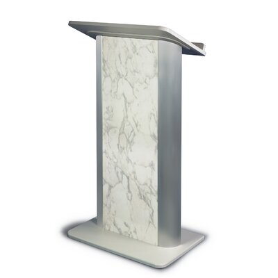 AmpliVox Sound Systems Bianco Marble Lectern with Satin Anodized Aluminum