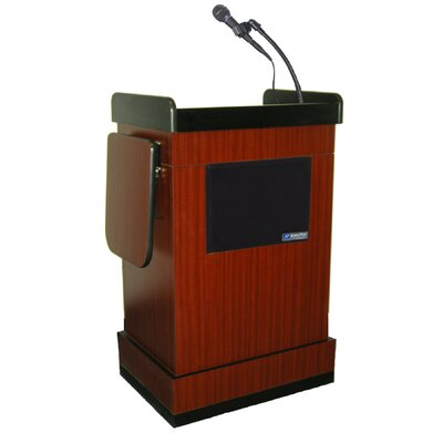 AmpliVox Sound Systems Multimedia Smart Computer Lectern in Mahogany