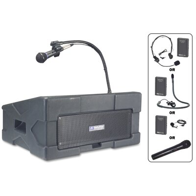 AmpliVox Sound Systems Wireless Roving Rostrum Podium 50 Watt Lectern PA