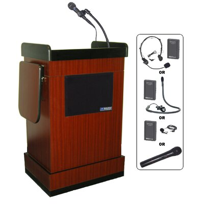 AmpliVox Sound Systems Wireless Multimedia Smart Computer Lectern in Mahogany