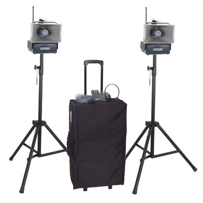 AmpliVox Sound Systems Deluxe Half-Mile Hailer Kit with Wireless Powered Speakers