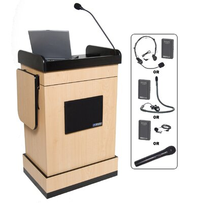 AmpliVox Sound Systems Wireless Multimedia Computer Lectern with Electret Mic
