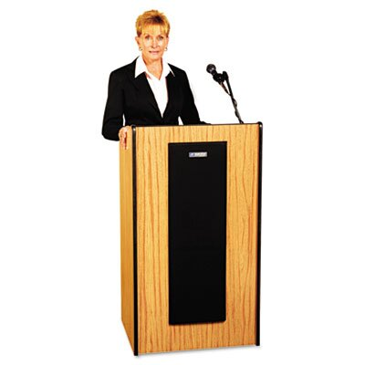 AmpliVox Sound Systems Presidential Plus Wireless Sound Lectern, 25-1/2w x 20-1/2d x 46-1/2h, Med Oak