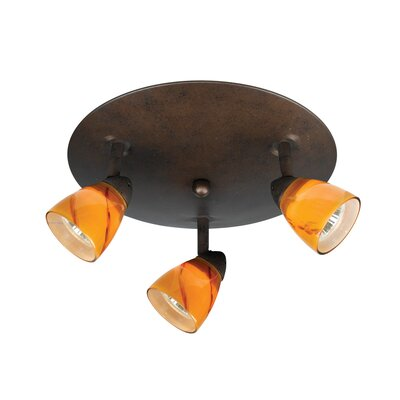 "Cal Lighting Serpentine 24"" Three Light Track Light with Amber Glass in Rust"