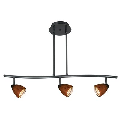 Serpentine Three Light Track Light with Amber Swirl Glass in Dark Bronze