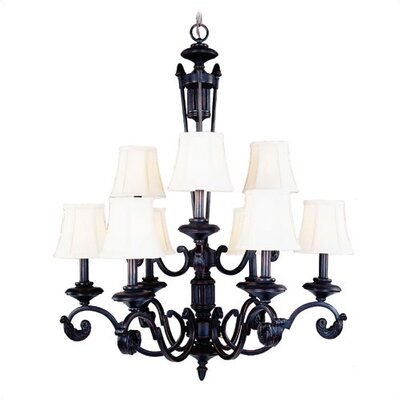 Living Well Old Mahogany 9 Light Chandelier with Fabric Shades