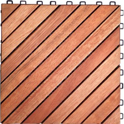 "Vifah Acacia Hardwood 11.22"" x 11.22"" Interlocking Deck Tiles (Set of 10)"
