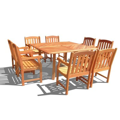 Vifah 9 Piece Outdoor Teak Dining Set