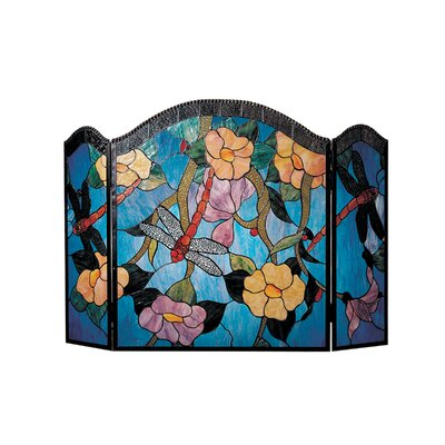 Dale Tiffany Dragonfly 3 Panel Glass Fireplace Screen