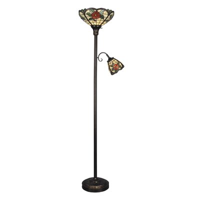 dale tiffany 2 light torchiere with side floor lamp. Black Bedroom Furniture Sets. Home Design Ideas