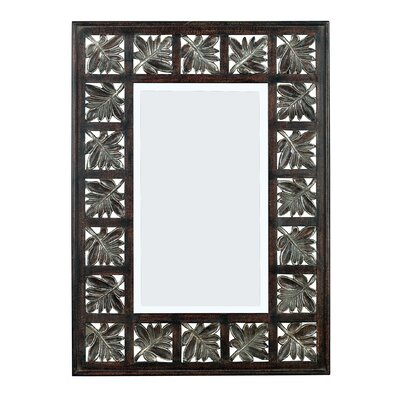 Foilage Wall Mirror in Dark Walnut with Silver Accents