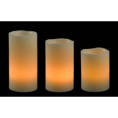 Wildon Home ® Stony LED Pillar Candle (Set of 3)