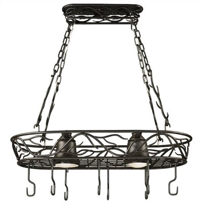 Twigs Lighted Hanging Pot Rack