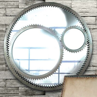 Kenroy Home Gear Wall Mirror in Weathered Steel