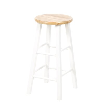 "International Concepts 24"" Roundtop Counter Stool (White/Natural)"