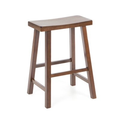 "International Concepts 24"" Saddleseat Counter Stool (Distressed Walnut)"