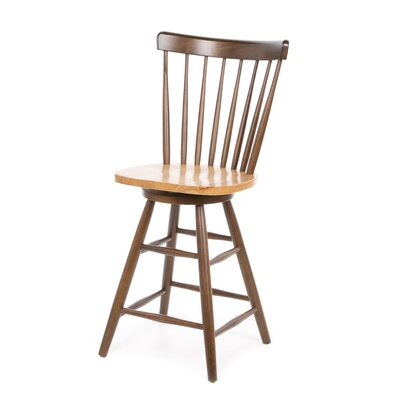 "International Concepts Madison Park 24"" Spindleback Swivel Counter Stool in Cinnamon/Espresso"