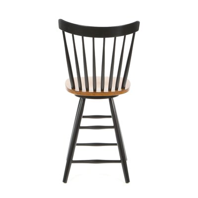 "International Concepts Madison Park 24"" Spindleback Swivel Counter Stool in Black/Cherry"