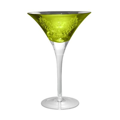 Brocade Martini Glass in Lemon Grass (Set of 4)