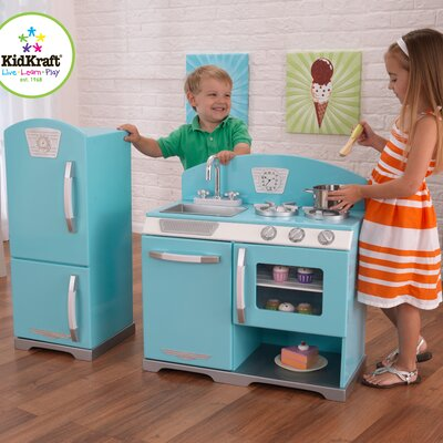 KidKraft 2 Piece Retro Personalized Kitchen and Refrigerator Set