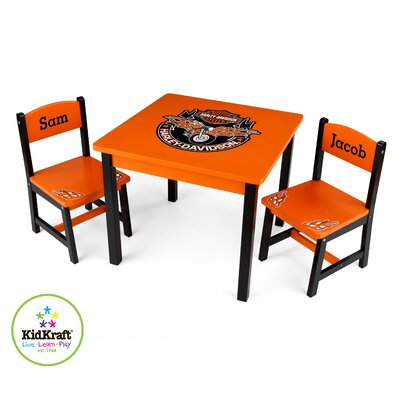 KidKraft Harley Davidson Kids' 3 Piece Table and Chair Set (Personalized)
