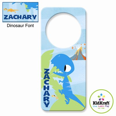 Personalized Dinosaur Blue Door Hanger