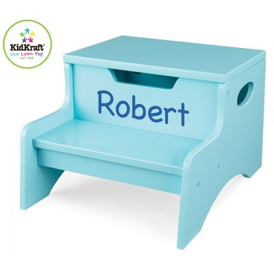 KidKraft Personalized Step N' Store Stool in Ice Blue