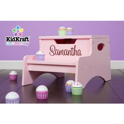KidKraft Personalized Step N' Store Stool in Petal Pink