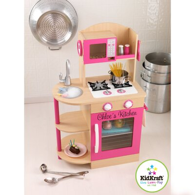 KidKraft Personalized Pink Wooden Play Kitchen