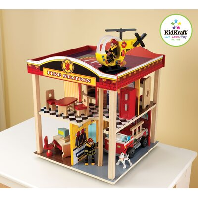 KidKraft Firefighter 10-Piece Fire Station Set