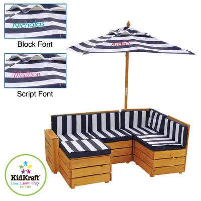 KidKraft Kids Personalized Outdoor 5 Piece Sectional Seating Group with Cushions