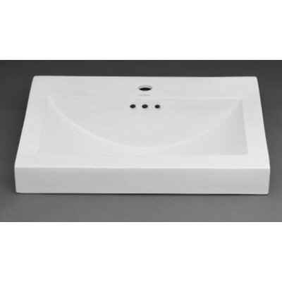 Rectangle Ceramic Semi Recessed Vessel Bathroom Sink with Overflow - 216624