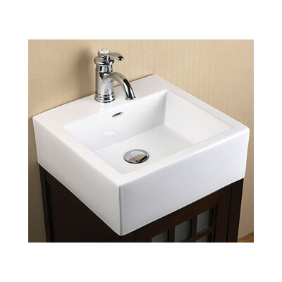 Ceramic Square Vessel Bathroom Sink with Overflow - 200271-WH