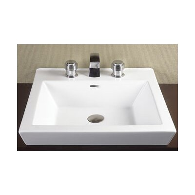Square Tapered Ceramic Semi Recessed Vessel Bathroom Sink - 200480