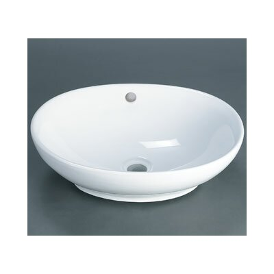 Oval Ceramic Vessel Bathroom Sink with Overflow - 200104-WH