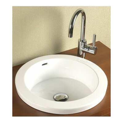Ronbow Round Semi Recessed Ceramic Vessel Bathroom Sink with Overflow