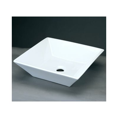 Square Ceramic Vessel Bathroom Sink without Overflow - 200005-WH