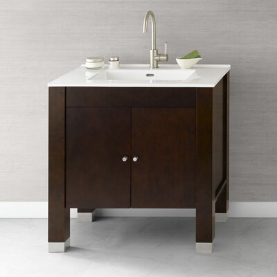"Ronbow Contempo 31"" Vintage Walnut Devon Vanity and White Integral Ceramic Sinktop"